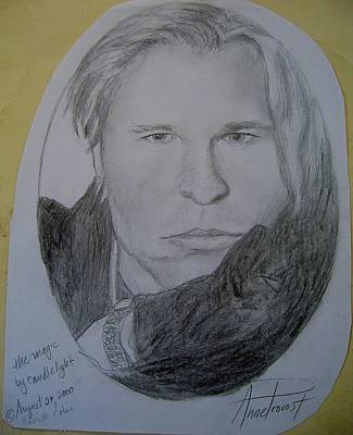 Val Kilmer Wall Art - Drawing - Val Kilmer- Magic By Candlelight by Anne Provost