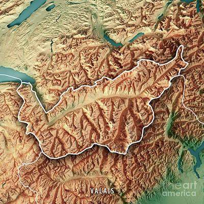 Valais Canton Switzerland 3d Render Topographic Map Border Art Print by Frank Ramspott