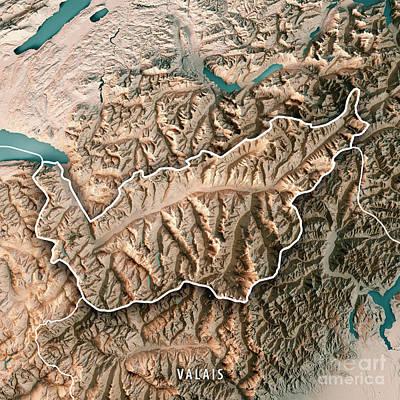 Valais Canton Switzerland 3d Render Topographic Map Neutral Bord Art Print by Frank Ramspott