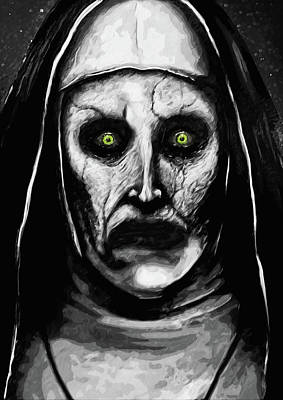 Pop Art Royalty-Free and Rights-Managed Images - Valak the Demon Nun by Zapista