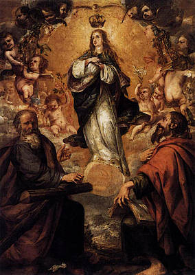 Valdes Digital Art - Valdes Leal Juan De Virgin Of The Immaculate Conception With Sts Andrew And John The Baptist by Juan de Valdes Leal