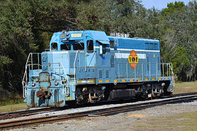 Photograph - Valdosta Railway Blue Engine by rd Erickson