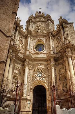 European Church Photograph - Valencia Cathedral Facade  by Carol Japp