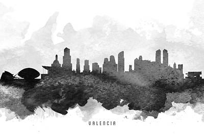 Spain Painting - Valencia Cityscape 11 by Aged Pixel