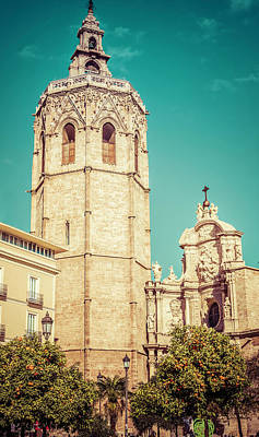 Photograph - Valencia Spain Bell Tower And Cathedral by Joan Carroll