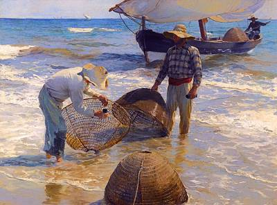 Net Painting - Valencian Fishermen by Mountain Dreams