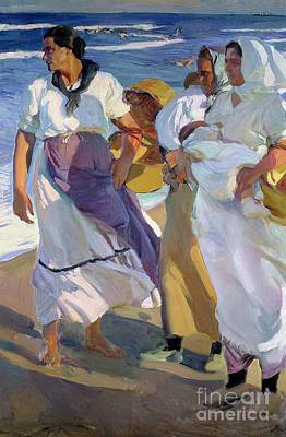Lady On The Beach Painting - Valencian Fisherwomen by Joaquin Sorolla y Bastida