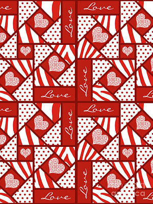 Block Quilts Digital Art - Valentine 4 Square Quilt Block by Methune Hively