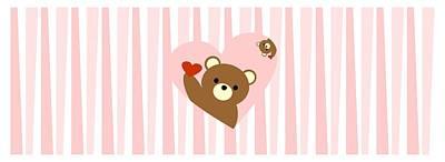 Be My Valentine Digital Art - Valentine Bear Pink by Kourai