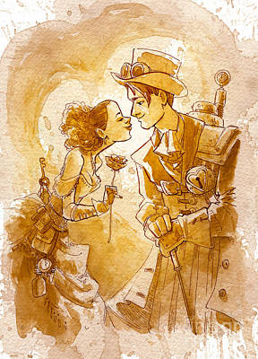 Steampunk Wall Art - Painting - Valentine by Brian Kesinger