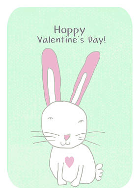 Valentine Bunny- Art By Linda Woods Art Print
