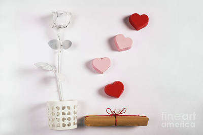 Photograph - Valentine Composition With Rose, Gift And Hearts. by Michal Bednarek
