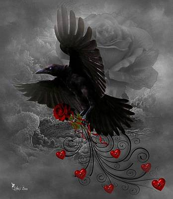 Digital Art - Valentine Crow by Ali Oppy