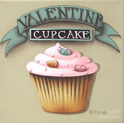 Valentine Cupcake Small Art Print by Catherine Holman