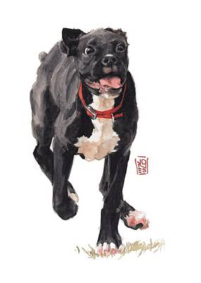 Watercolor Pet Portraits Painting - Valentine by Debra Jones