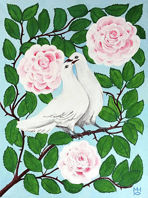 Painting - Valentine Doves by Marilyn Hilliard