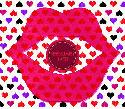 Smooch Digital Art - Valentine Lips 2 - Pop Art by Steve Ohlsen
