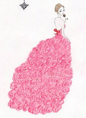 Drawing - Valentine Rose Gown by Christine Corretti