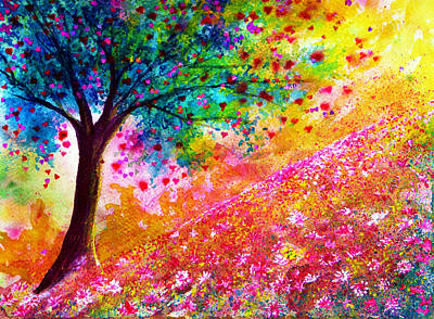 Rainbow Painting - Valentine Tree by Ann Marie Bone