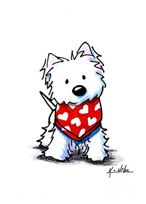 West Highland Terrier Drawing - Valentine Westie by Kim Niles