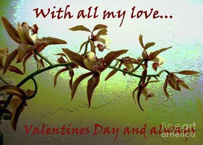 Photograph - Valentine With Orchids On Opalescence by Barbie Corbett-Newmin