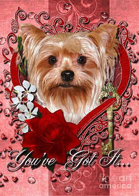 Terrier Digital Art - Valentines - Key To My Heart Yorkshire Terrier by Renae Laughner
