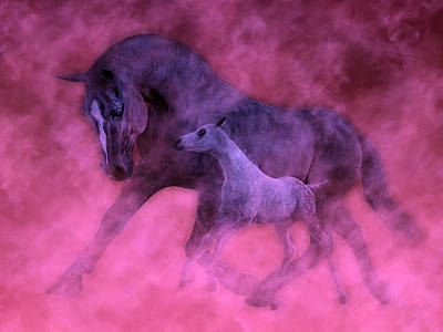 Gray Horse Digital Art - Valentines by Betsy Knapp