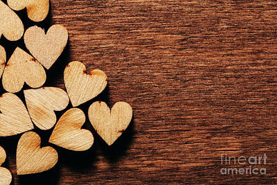 Photograph - Valentine's Day Background. Wooden Hearts. by Michal Bednarek