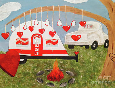 Mixed Media - Valentines Day Camping by Danielle Allard