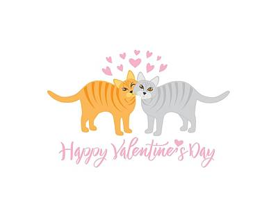 Photograph - Valentines Day Cats Snuggling Illustration by Jit Lim