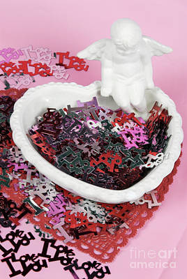 Photograph - Valentines Day Confetti Words Of Love With Angel  by Vizual Studio