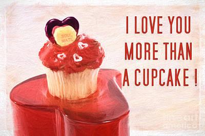 Cupcake Love Digital Art - Valentines Day Cupcake With Words Of Love Pencil Sketch by Vizual Studio