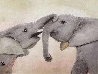 Painting - Valentine's Day Elephant by Annie Poitras