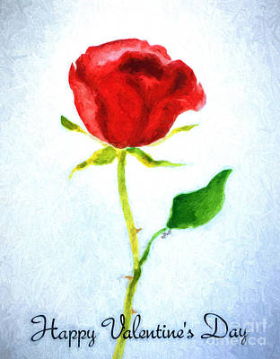 Wall Art - Painting - Valentine's Day Rose by Claire Bull