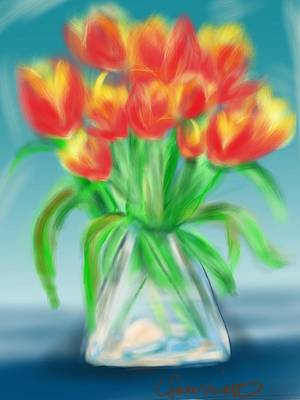 Painting - Valentine's Day Tulips by Christine Fournier