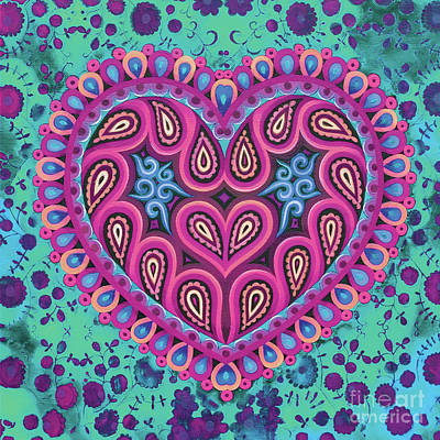 Engaged Painting - Valentine's Folk Heart On Green by Jane Tattersfield