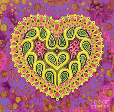Valentine's Folk Heart On Pink Art Print by Jane Tattersfield