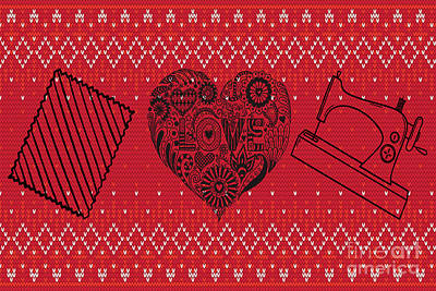 Digital Art - Valentines For Quilters by Mary Bellew