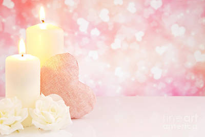 Burning Heart Wall Art - Photograph - Valentine's Hearts And Candles With A Bright Glittering Backgrou by Sara Winter