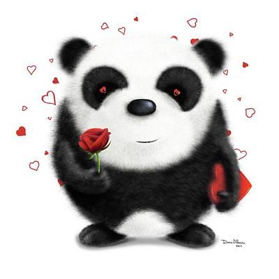 Fuzzy Digital Art - Valentine's Panda by Dana Alfonso