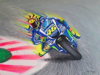 Motogp Painting - Valentino Rossi Flying  by Tom Bokstijn