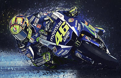 Athletes Digital Art - Valentino Rossi by Zapista