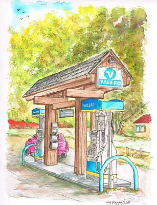 Service Station Painting - Valero Gas Station In Big Sur, California by Carlos G Groppa