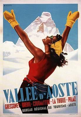 Mountain Mixed Media - Vallee Daoste - Aosta Valley, Italy - Retro travel Poster - Vintage Poster by Studio Grafiikka