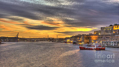 Maltese Photograph - Valletta Grand Harbour Sunset  by Rob Hawkins