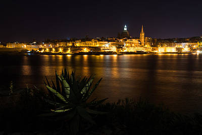 Maltese Photograph - Valletta Malta Night Magic by Georgia Mizuleva
