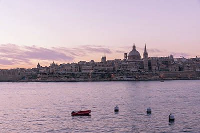 Photograph - Valletta Malta Sunrise In Rose Gold by Georgia Mizuleva