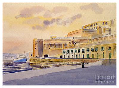 Painting - Valletta Stores by Godwin Cassar