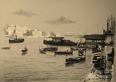 Painting - Valletta Waterfront. 1935 by Tony Calleja