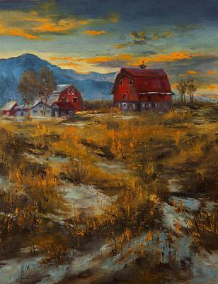 Matanuska Painting - Valley Farm Sunset by Dan Twitchell
